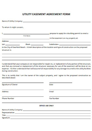 Utility Easement Agreement Form