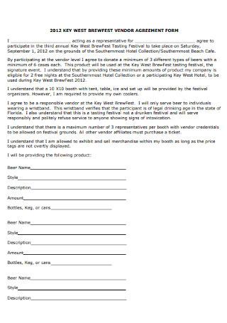 Vendor Agreement Form