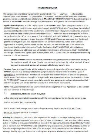 Vendor Agreement Format