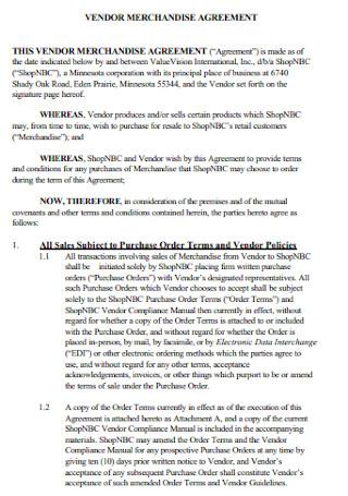 Vendor Marchandise Agreement
