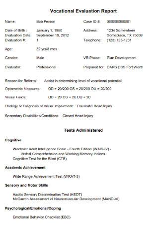 Vocational Evaluation Report