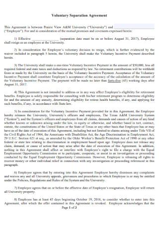 Voluntary Separation Agreement