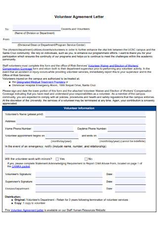 Volunteer Agreement Letter