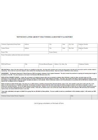 Volunteer Agreement and Report
