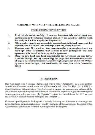 Volunteer Agreement and Waier Template