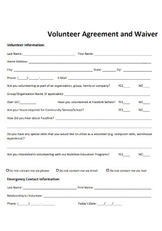 Volunteer Agreement and Waiver Template