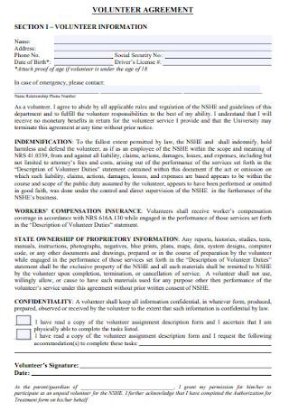 Volunteer Information Agreement