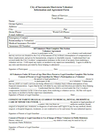 Volunteer Information and Agreement Form