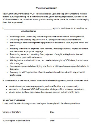 Volunteer Partnership Agreement