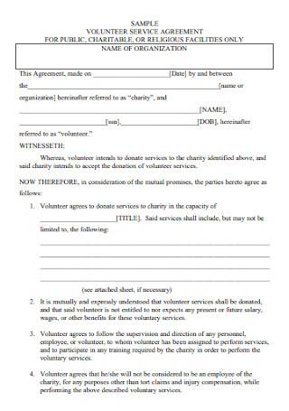 Volunteer Service Agreement