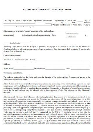Volunteer Spot Agreement Form