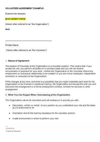 Voluteer Project Agreement