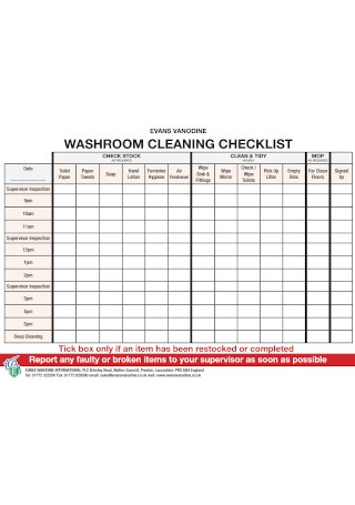 Washroom Cleaning Checklist Template