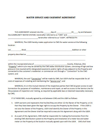 Water Service Easement Agreement Template