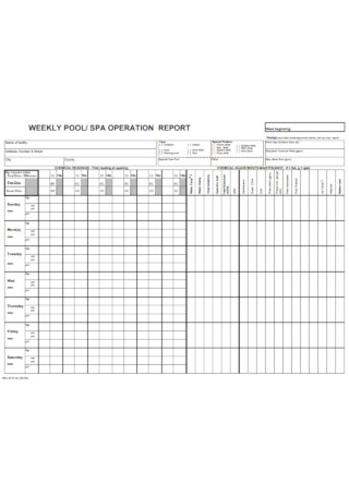 Weekly Pool Operation Report