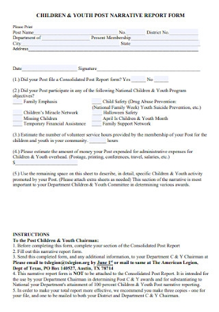 Youth Post Narrative Report Form
