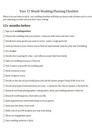 12 Months Wedding Planning Checklist