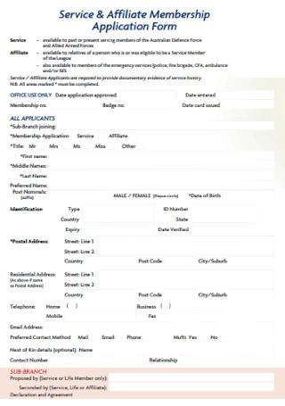 Affiliate Membership Application Form Example