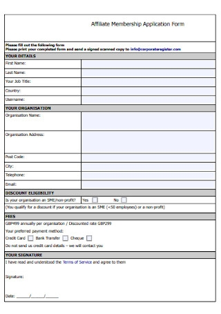 Affiliate Membership Application Form
