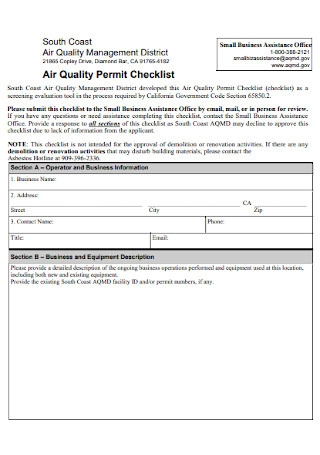 Air Quality Permit Checklist