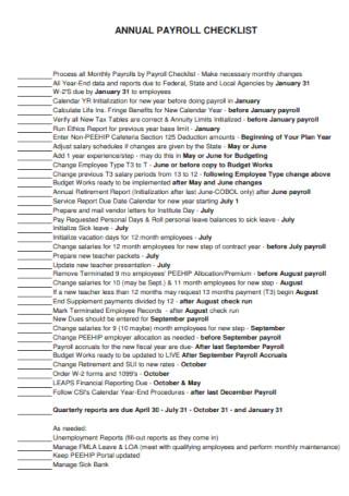 Annual Payroll Checklist