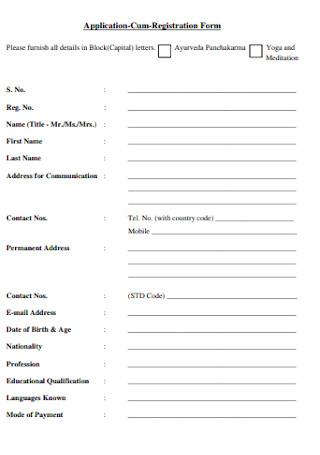 Application Cum Registration Form