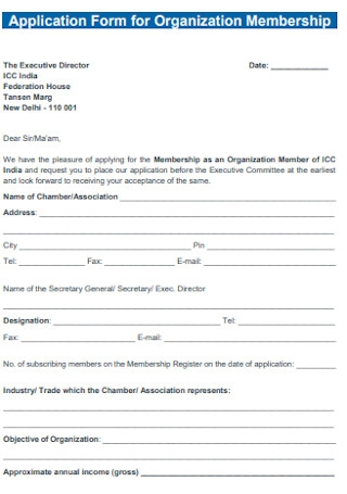 Application Form for Organization Membership