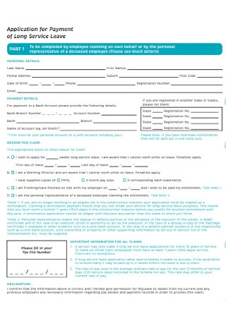 Application Leave Form for Payment