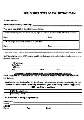 Application Letter of Evaluation Form