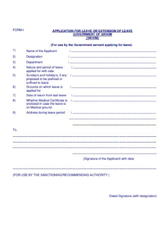 Application for Leave Extension Form