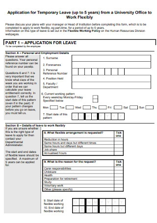 Application for Temporary Leave Form