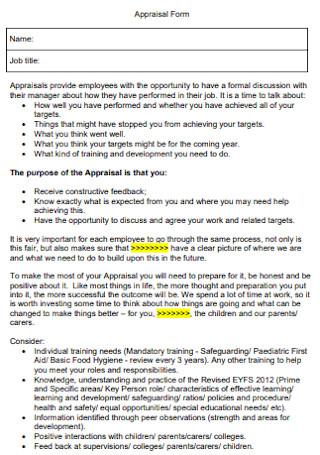 Appraisal Form Format