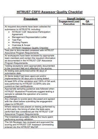 Assessor Quality Checklist