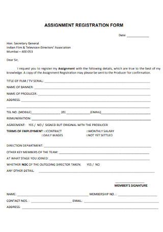 Assignment Registration Form