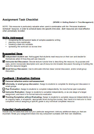 Assignment Task Checklist