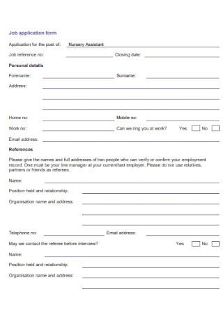 Assistant Job Application Form