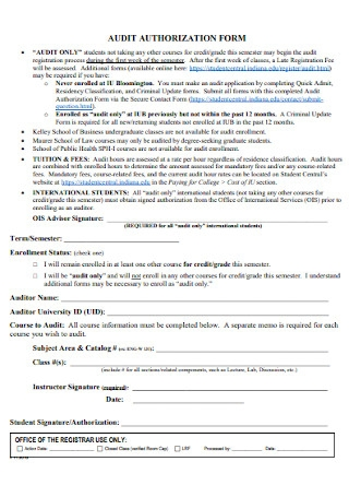Audit Authorization Form Template