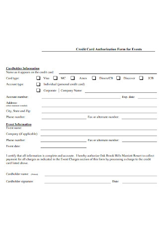 Authorization Form for Events