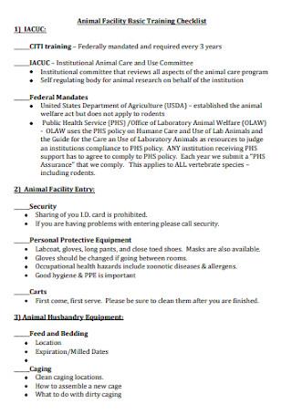 Basic Animal Facility Training Checklist