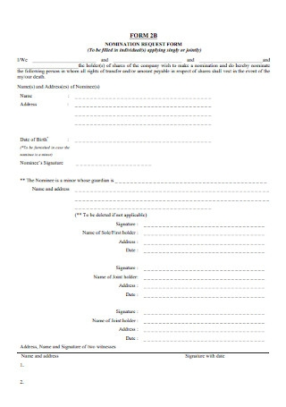 Basic Nomination Request Form