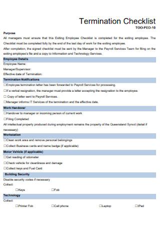 Basic Termination Checklist Template