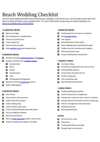 Beach Wedding Planning Checklist