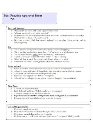 Best Practice Approval Sheet