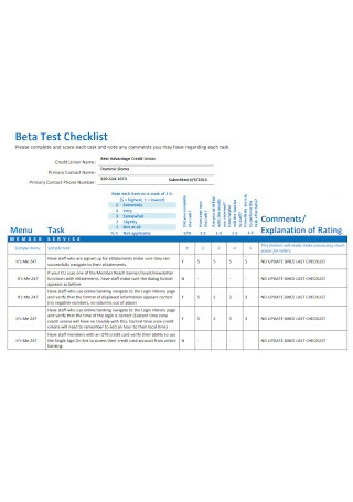 Beta Test Checklist
