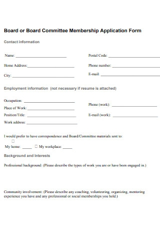 Board Committee Membership Application Form