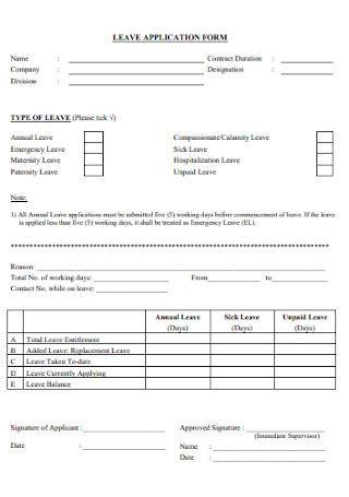 Business Leave Application Form
