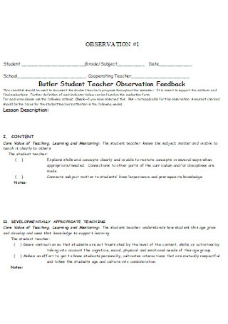 Butler Student Teacher Observation Checklist