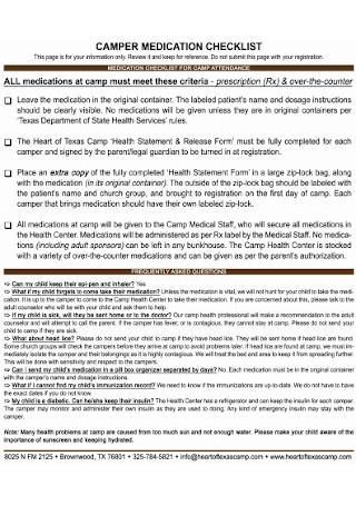 Camper Medication Checklist