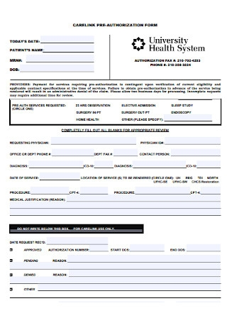 Carelink Authorization Form Template