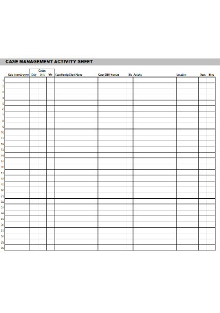 Case Management Avtivity Sheet